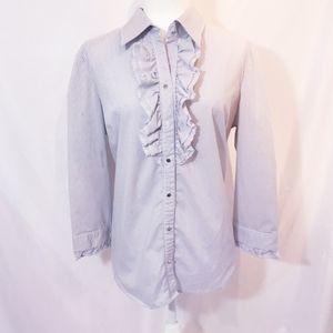 New York & Company Gray White Ruffled Shirt Sz XL